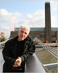 The artist Bill Fontana on the Millennium Bridge in London, which links the Tate Modern to St. Paul's Cathedral. Credit Photographs by Jonathan Player for The New York Times
