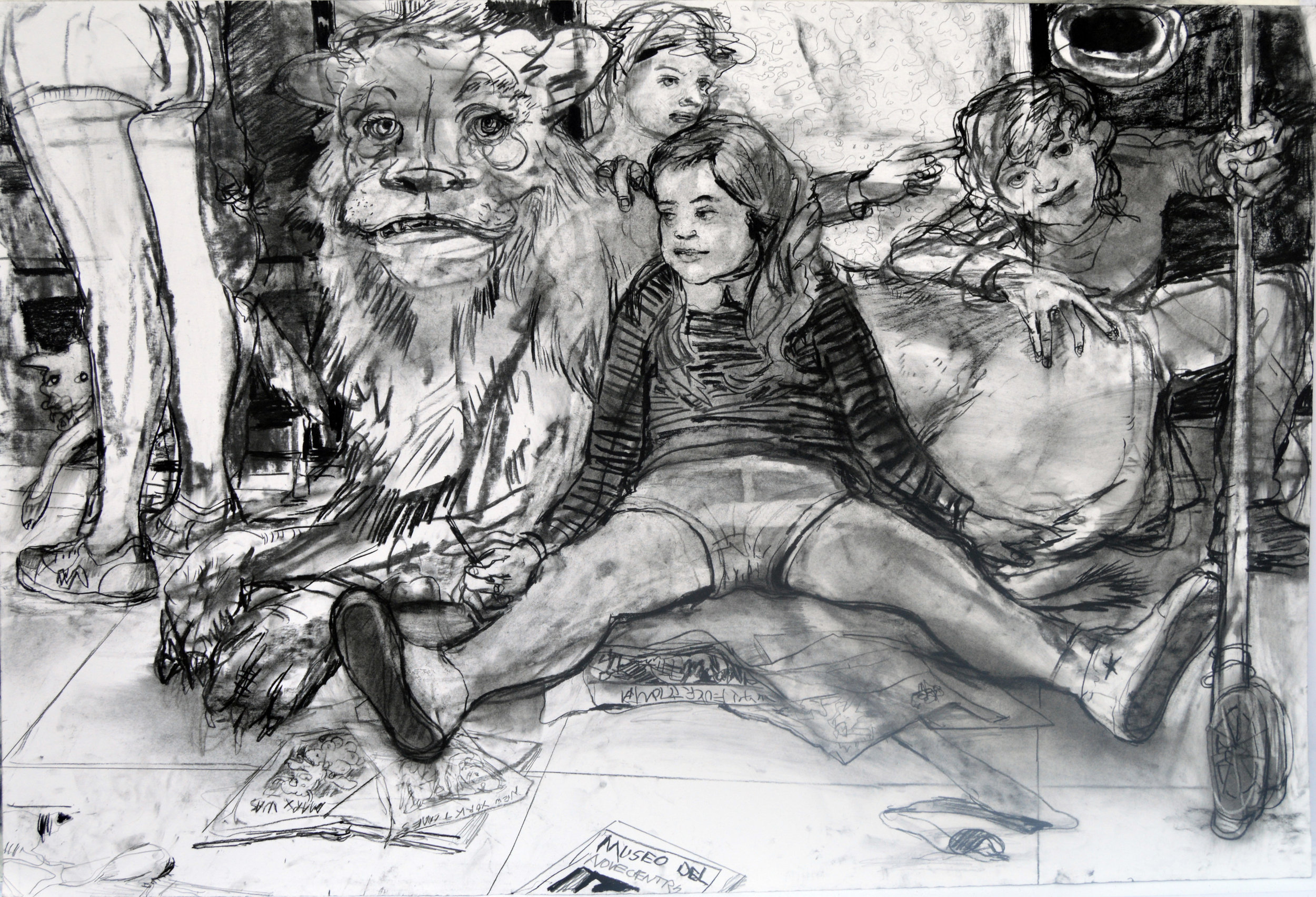 Reading Club?  28 by 40 inches charcoal on paper 2017.jpg