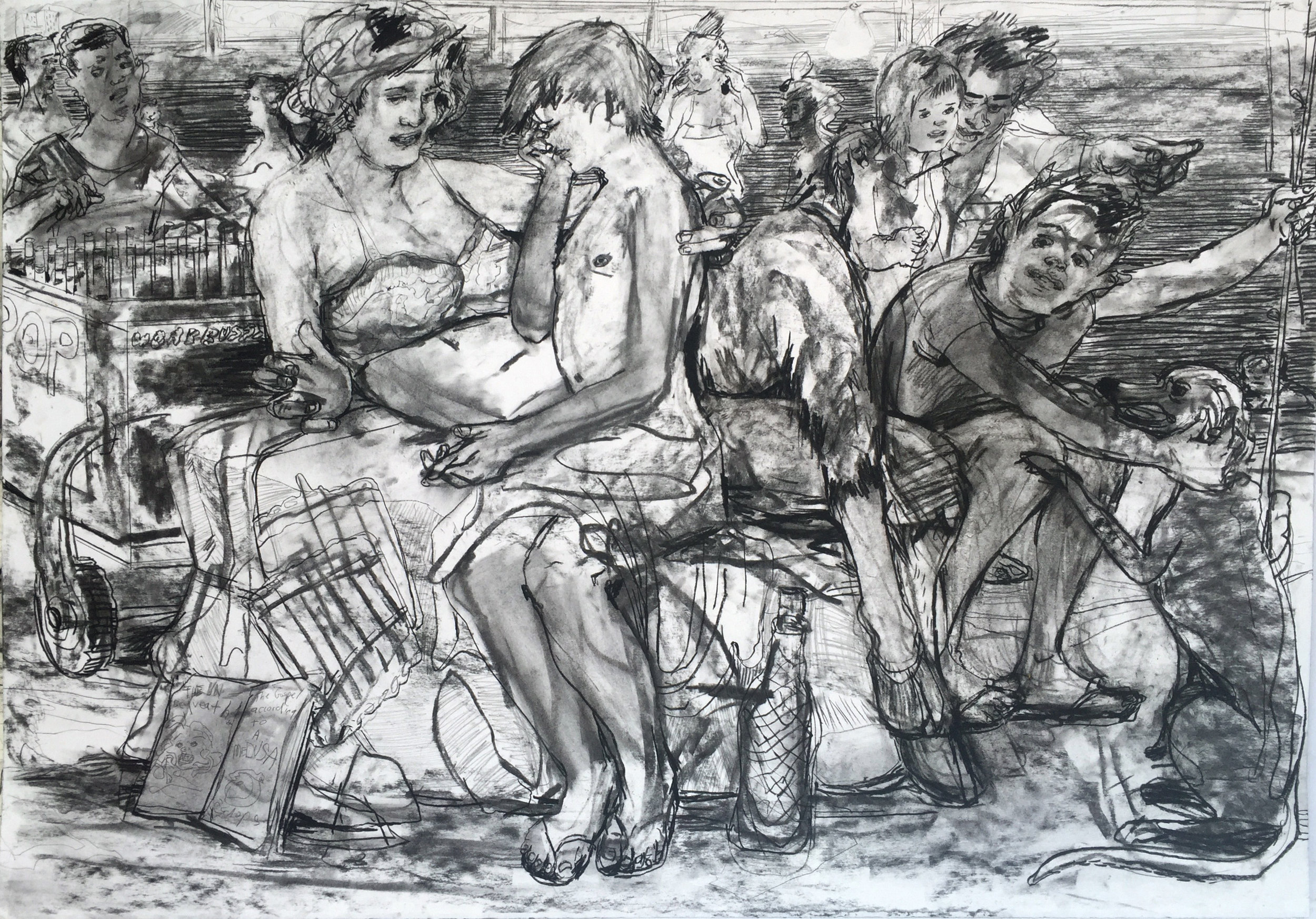 Beach Lessons?  28 by 40 inches charcoal on paper 2017.jpg