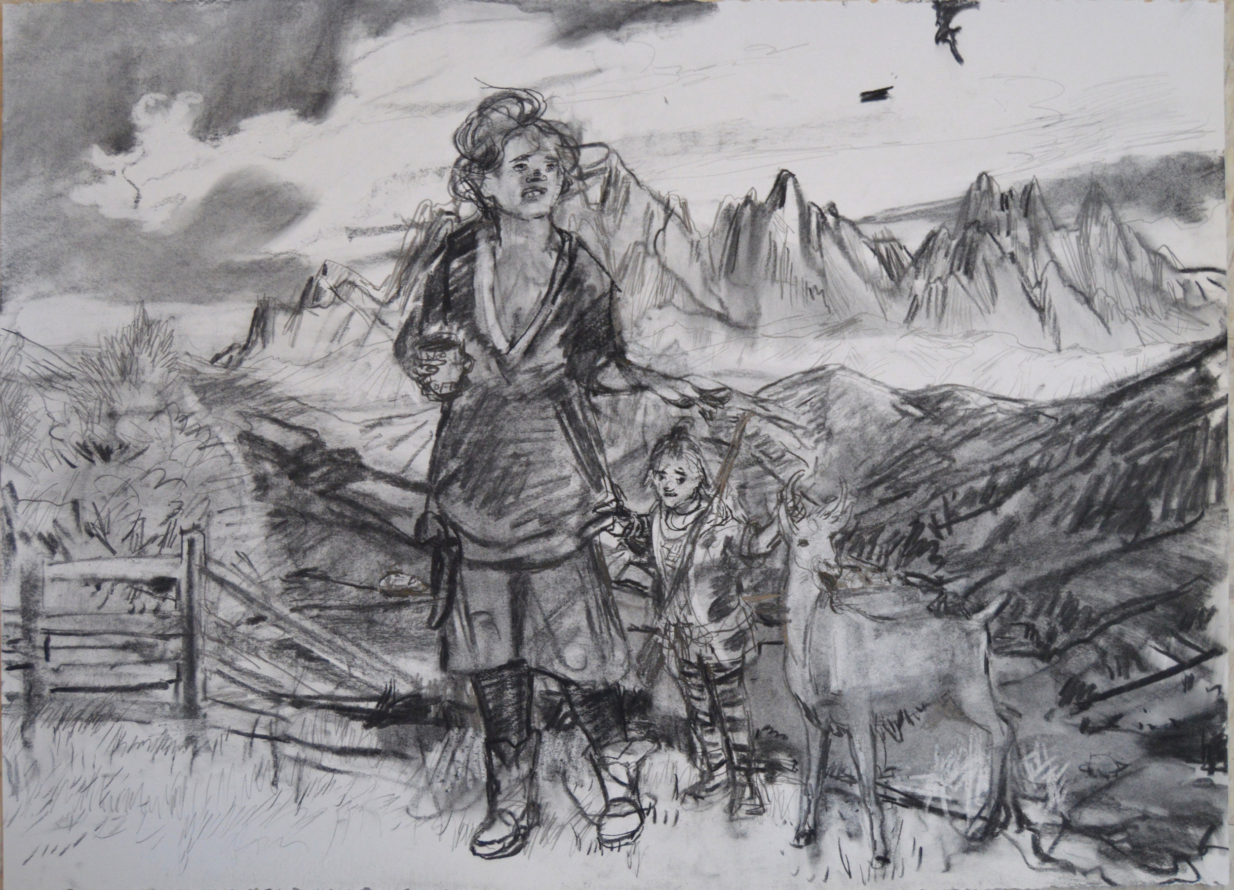 Amber Goat charcoal 28 by 40 inches 2016.jpg
