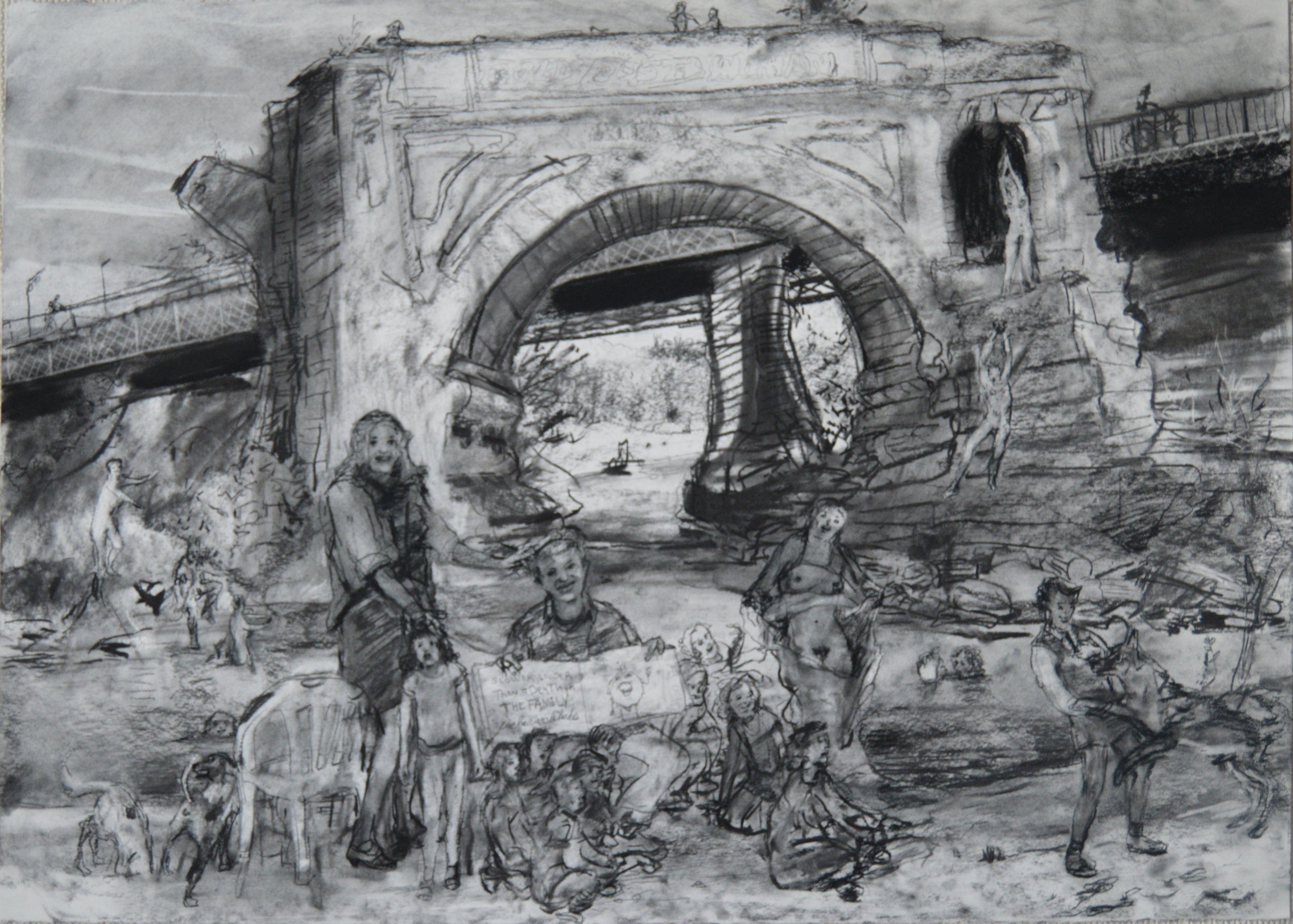 The Lost Bridge Isola Tevere Roma charcoal 28 by 40 inches 2015.jpg