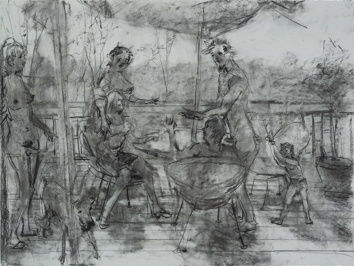 on Deck charcoal 28 by 40 inches 2015.jpg