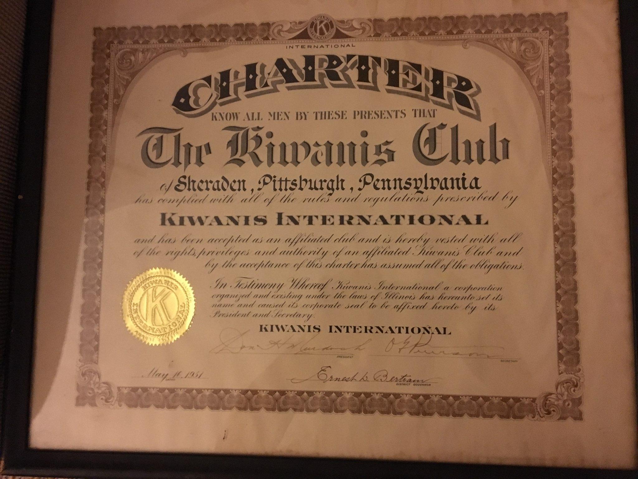 The original charter for the Kiwanis Club of Sheraden.