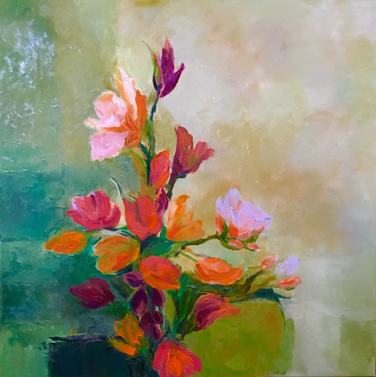 FlowersOnGreen, 24 x 24 inches