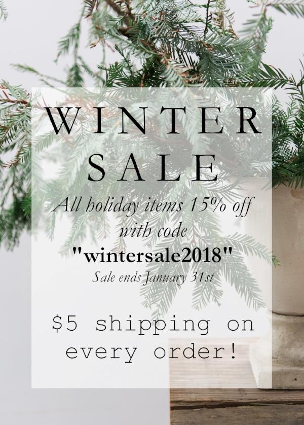 Winter sale at home decor boutique Foragedhome.com