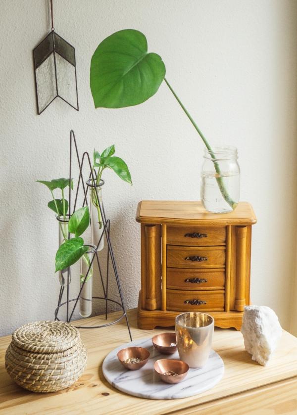 modern bohemian style bedroom decor at foragedhome.com