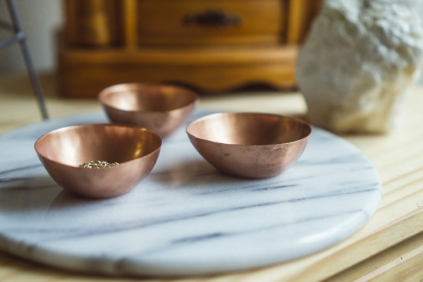 small metal copper bowls as jewelry storage at foragedhome.com