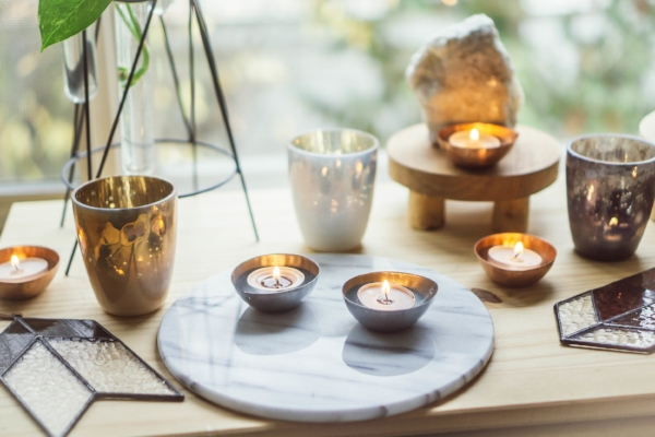 bohemian vibes with tealights and candles at Foraged Home