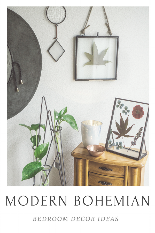 modern bohemian bedroom decor and interior inspiration at Foraged Home