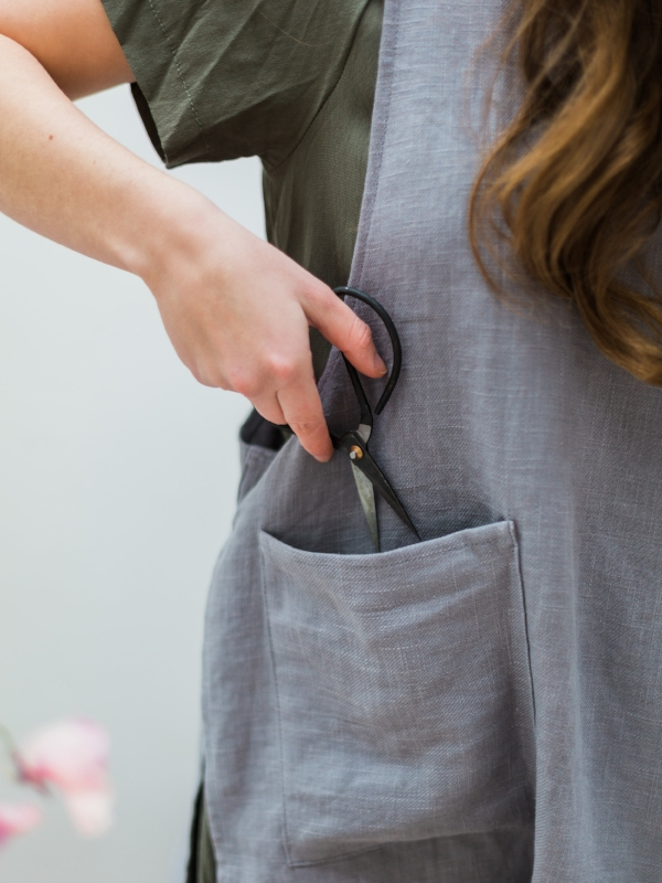 100% grey linen smock apron at Foraged Home