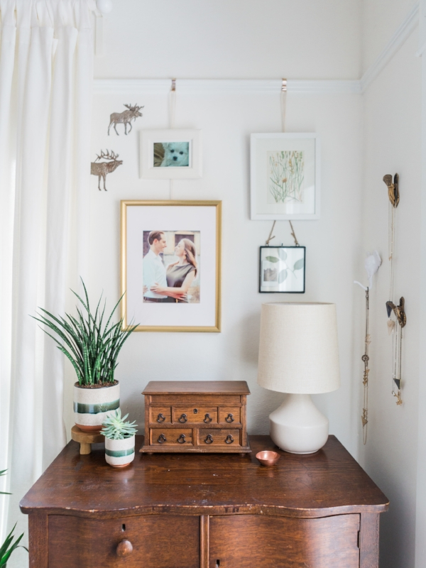 Bedroom dresser set up in craftsman home with a vintage and bohemian flair at Foraged Home