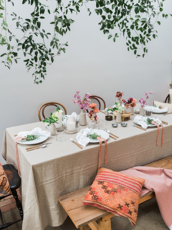 Bohemian garden party table decor for spring party by Foraged Home