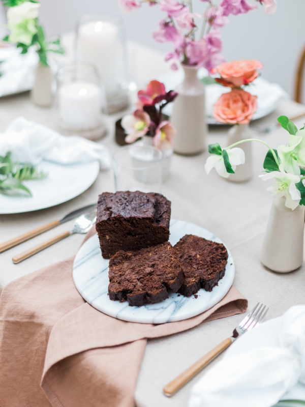 Chocolate banana bread for spring party