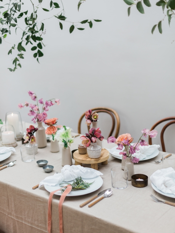 Garden party table inspiration for spring party with fresh flowers by Foraged Home