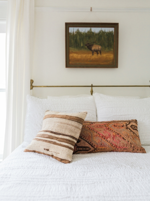 One of a kind Kilim pillows for bedroom via Foraged Home