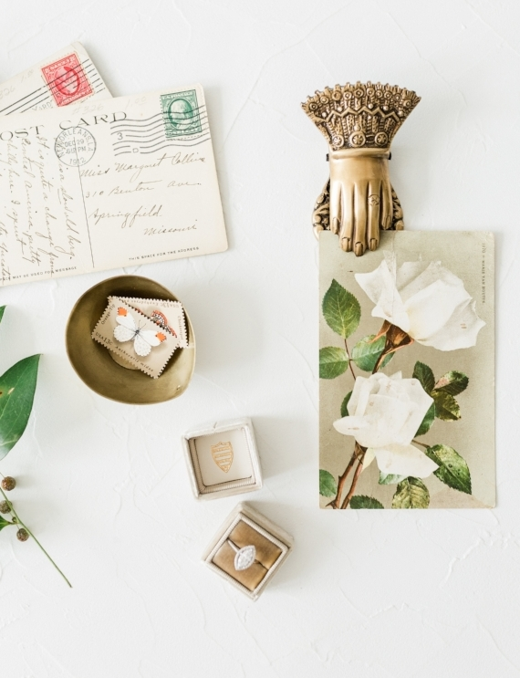 flat lay styling wedding details with vintage props from Foraged Home