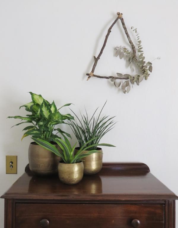 Brass indoor pots or planters for plants via Foragedhome.com