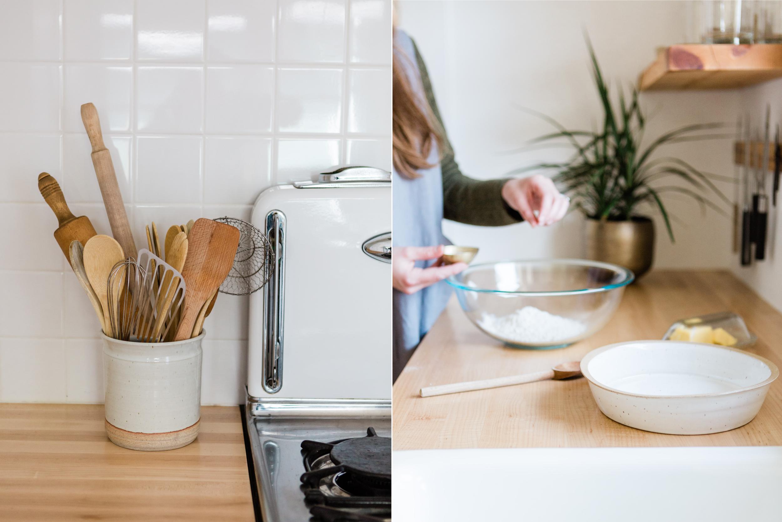 Ceramic utensil jar    Pie dish    Tunic dress linen apron    Metal bowls    Brass planters