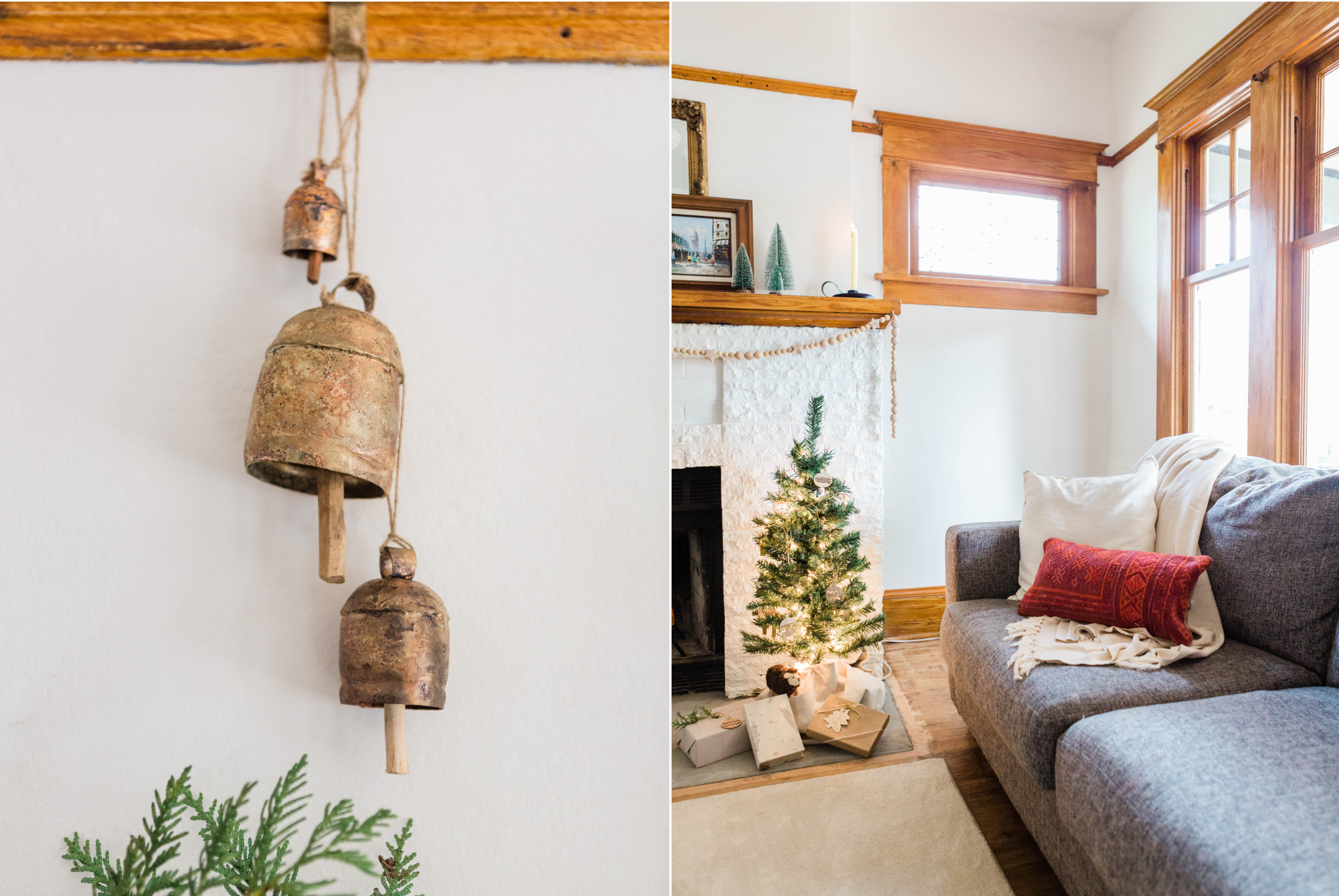 Vintage bells    Rectangle kilim pillow    Herringbone throw blanket    Bottle brush tree    Wood bead garland