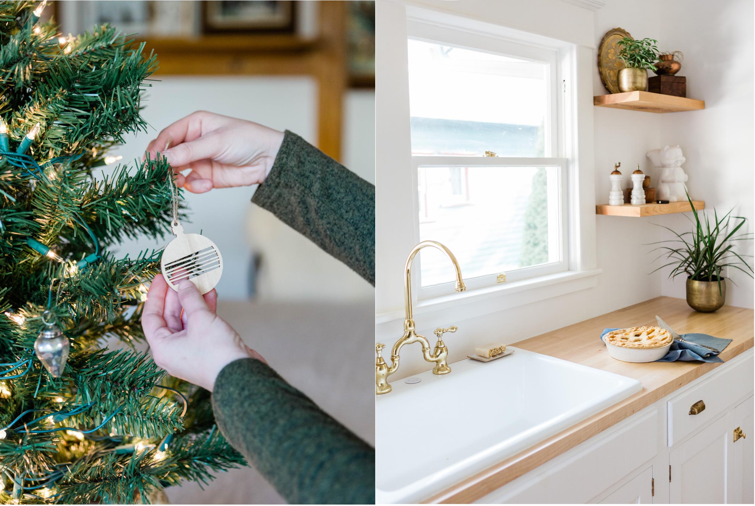 Wood ornaments    Pie dish    Linen tea towel    Brass planters    Soap dish