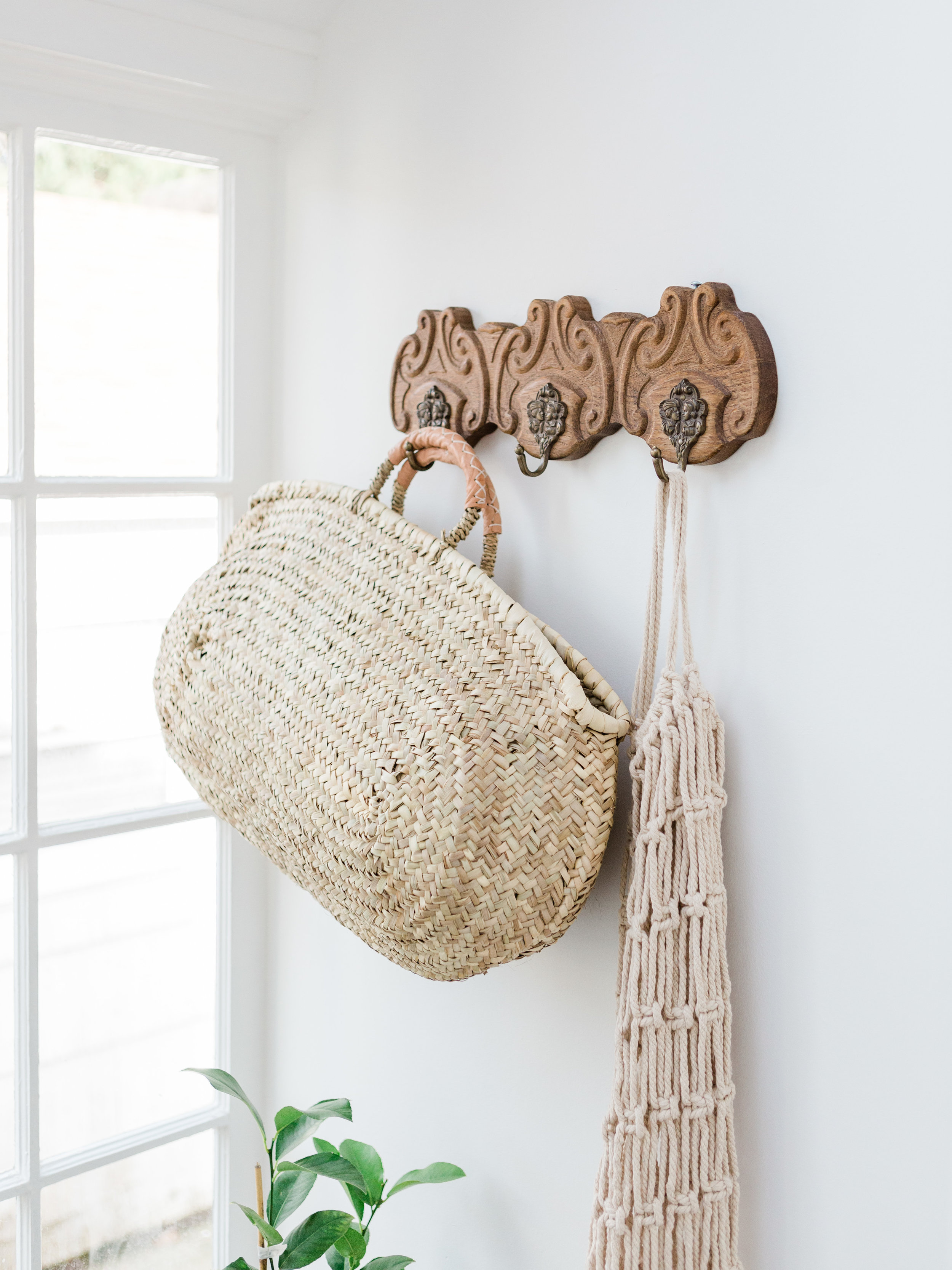 Large oval straw tote basket from foragedhome.com