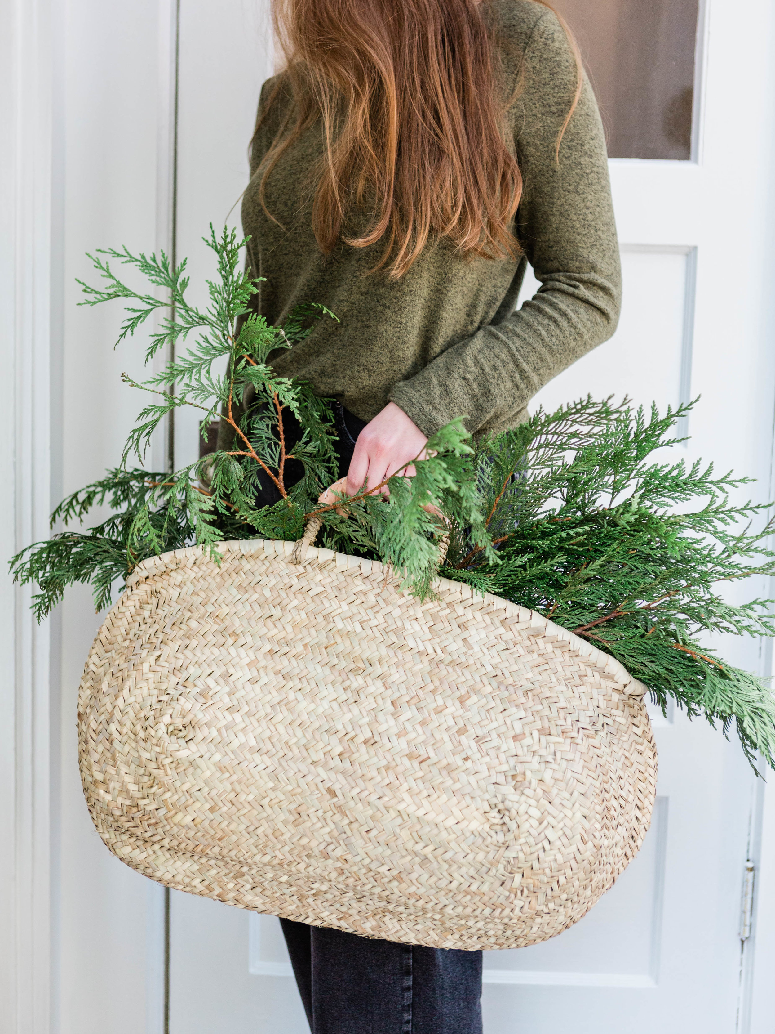 Large oval straw tote basket handmade from Foraged Home