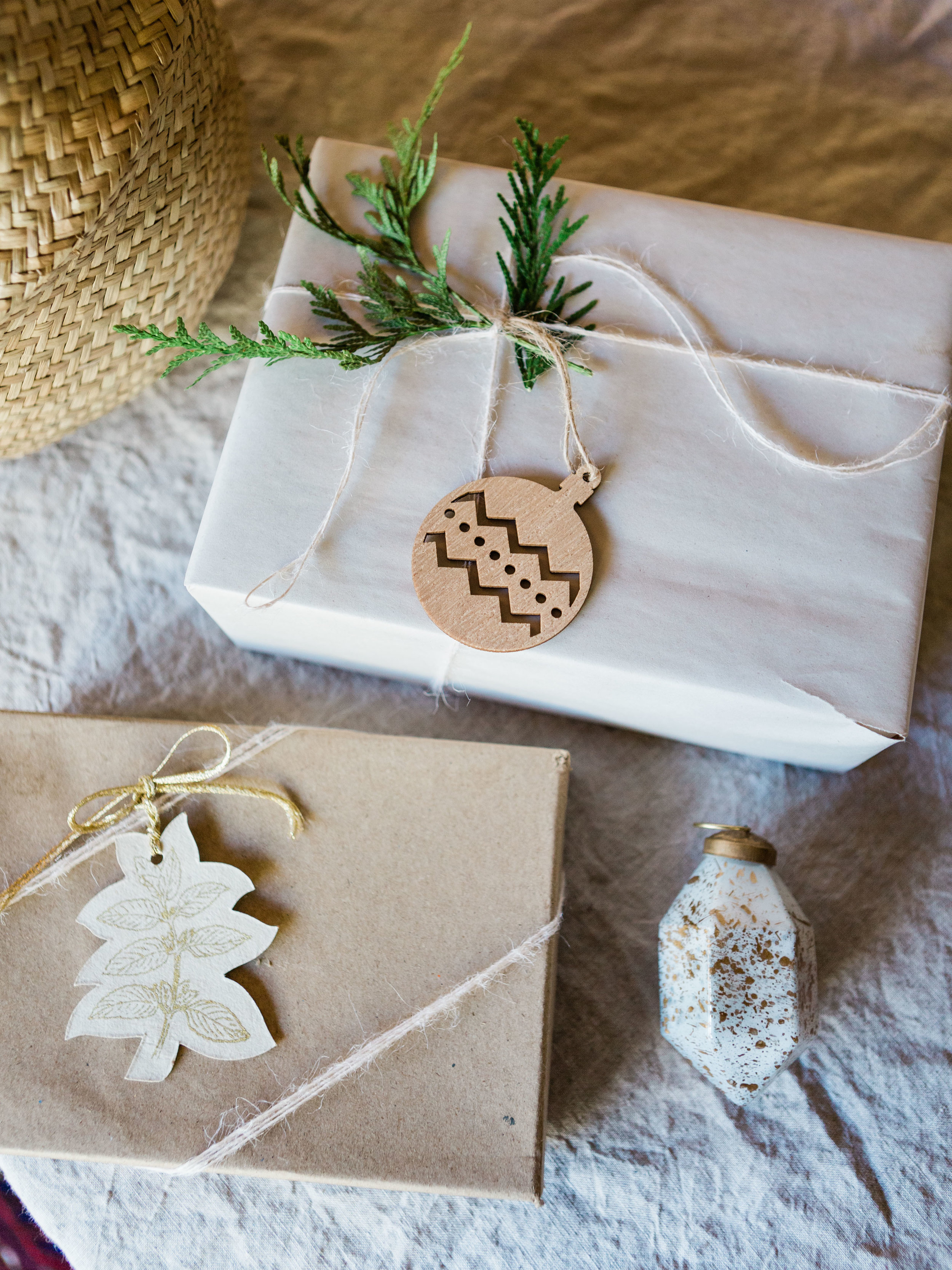 Simple and minimal gift wrap and tag ideas from Foraged Home