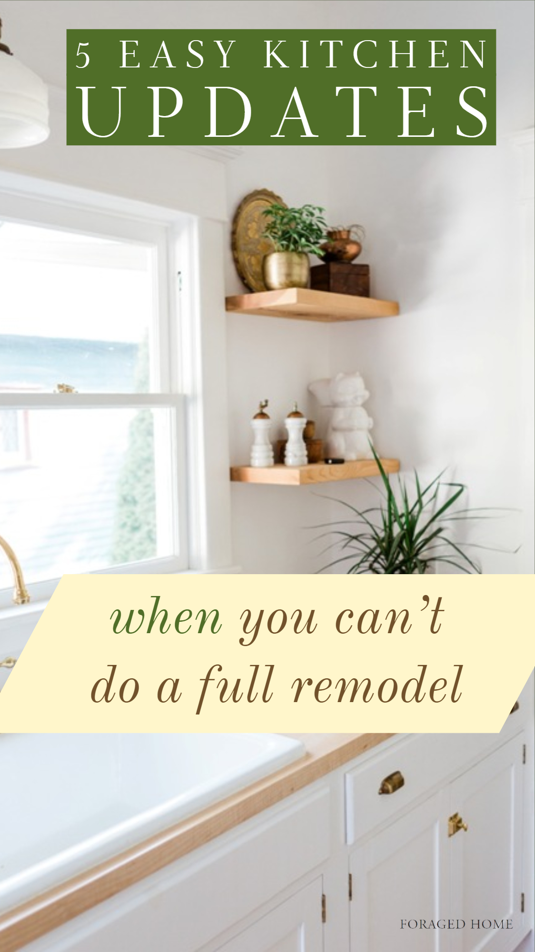 5 Inexpensive and Easy Kitchen updates when you can't do a full remodel from Foragedhome.com #kitchenreno #kitchendecor #kitchenrenovation
