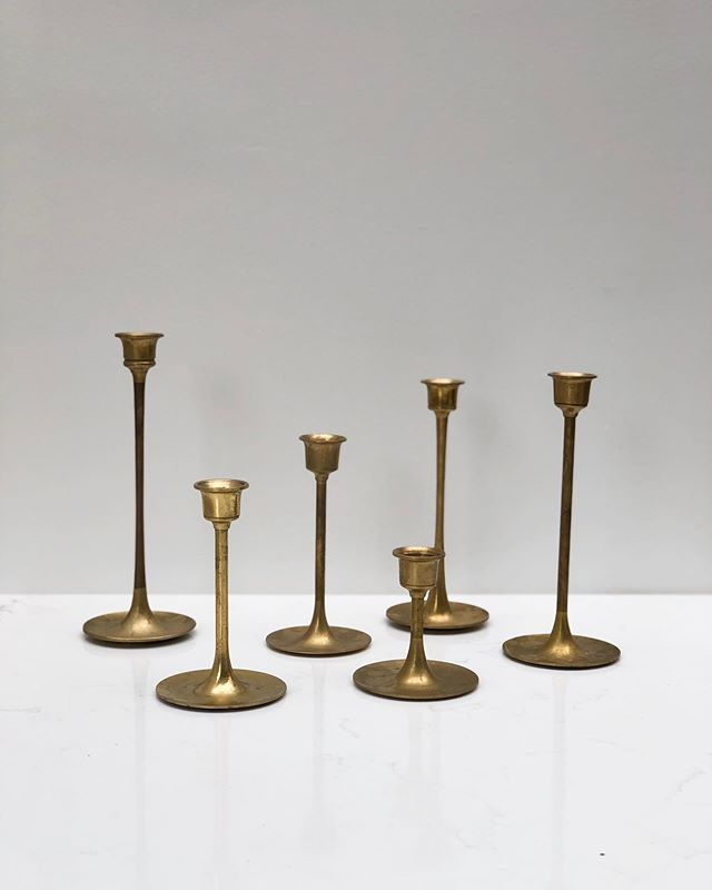 "We've launched 3 new products this week in our ""found"" section, including this set of vintage brass candlesticks. Head on over to the shop to see the other two new items! 😎 #foragedhome"