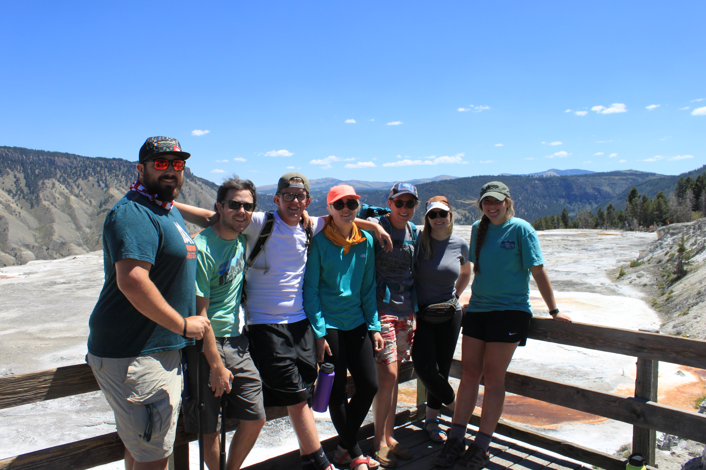 Mammoth Springs, Yellowstone National Park  Right to left: Richie Smissen, Lucas Smissen, Nathan Bieri, MaryPat Smissen, Whitney Walker, Kelsey Smissen, Jaclyn Toews
