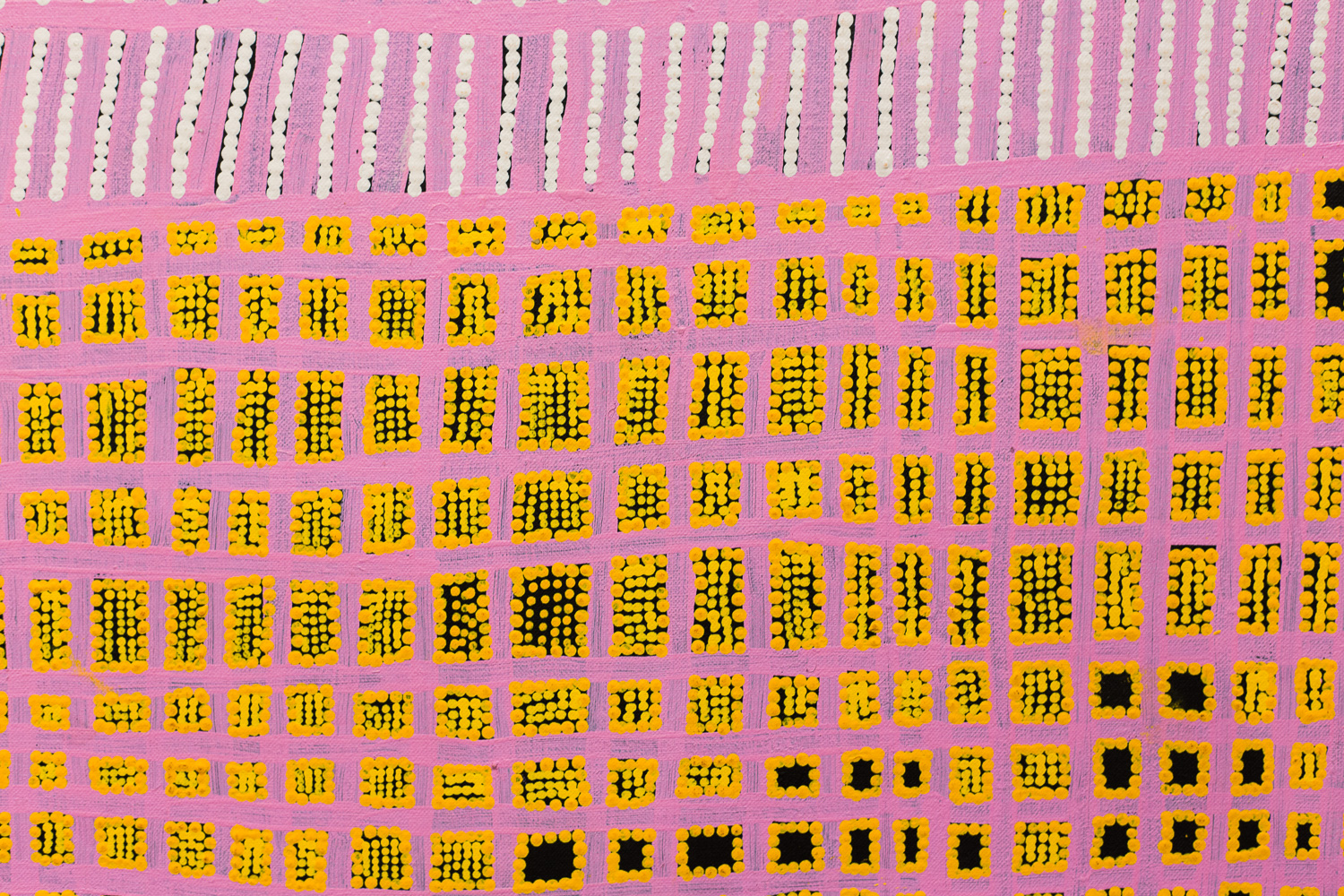 A section of artwork by Aboriginal artist Kim West Napurrula titled 'Tali (Sandhills) & Ngumi Country at the  Japingka Gallery .