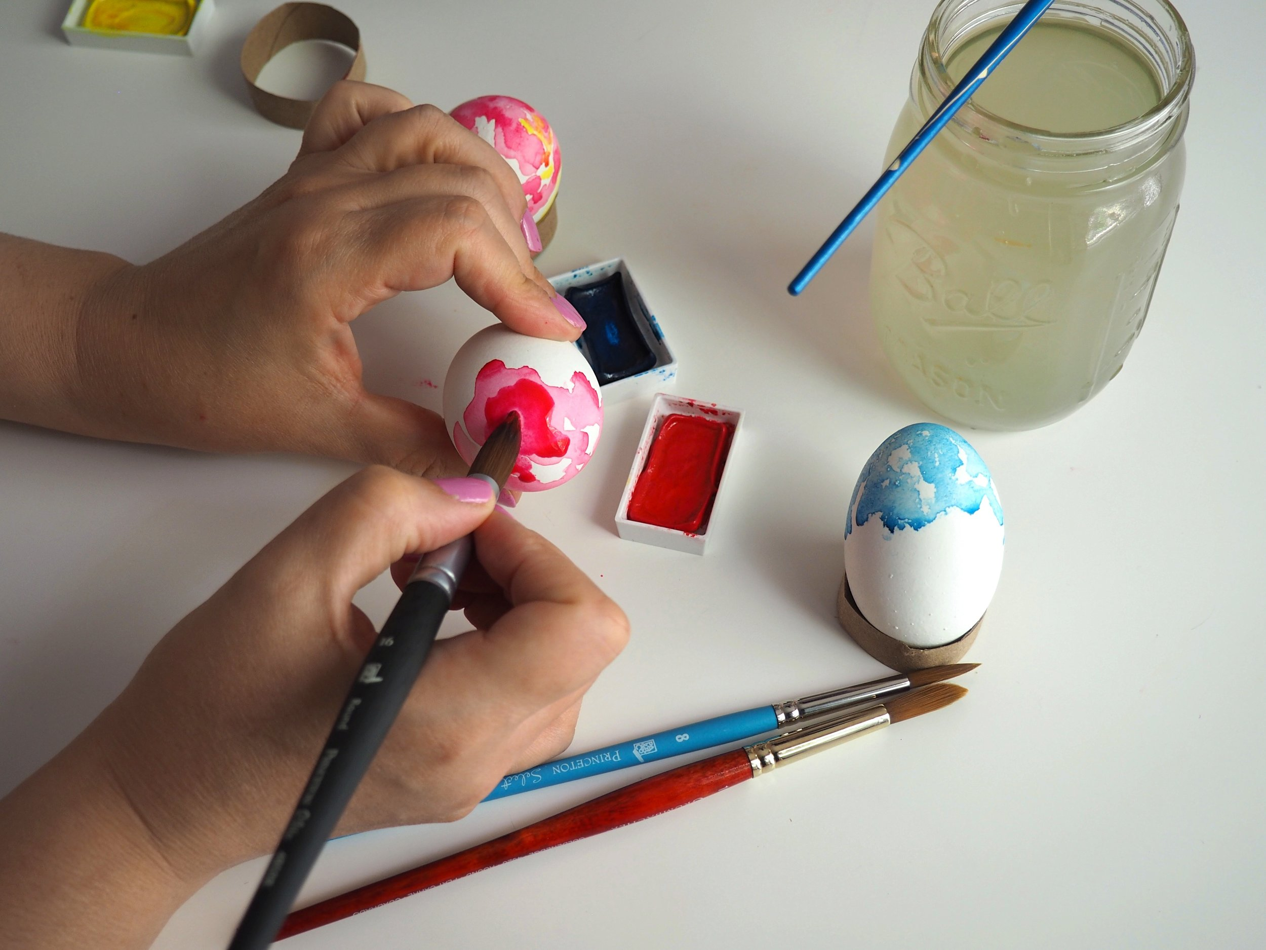 Easter Eggs Dyeing Watercolor tutorial