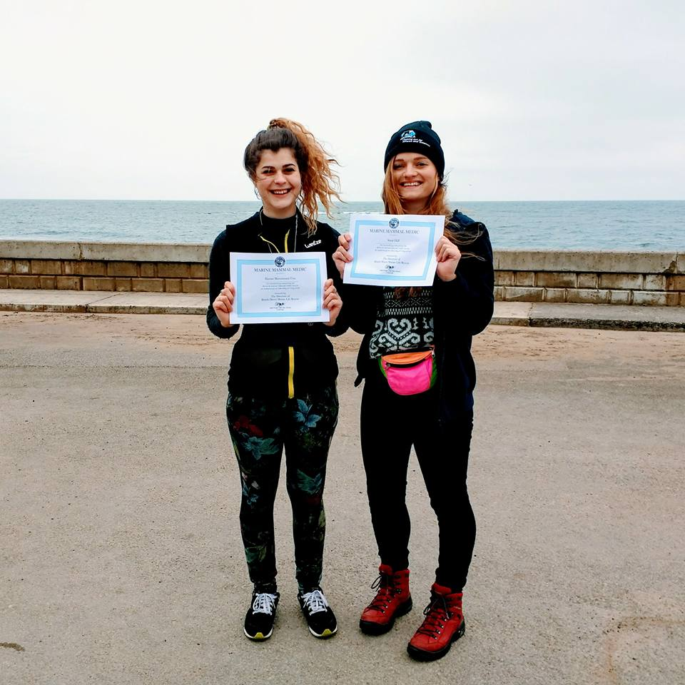 Harriet (left) and Suzie (right) after receiving their Marine Mammal Medic certificates.