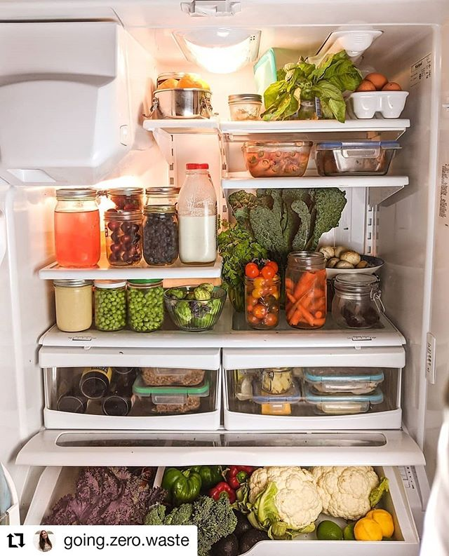 Fridge goals 💪🍎🍇🥦 #Repost @going.zero.waste • • • • • • Food is PREPPED! Here's a little sneak peek into my zero waste fridge. You might notice... it's 96% produce! ⠀ ⠀ Produce is relatively easy to find without packaging, and it's way more eco-friendly than animal products. So, even if you don't have a bulk section near you, you can avoid a ton of packaging by switching to simple plant-based meals. ⠀ ⠀ Health FIRST was my big to-do this year, and THB, I could definitely be exercising a little bit more, 🙈 but I'm still so proud that I've stuck to my goals.⠀ ⠀ I've been especially paying attention to the small things that help like putting all the healthy options on display has me reaching for fresh fruit and veg instead of chocolate and whipping up dinner at home instead of going out. ❤️⠀ ⠀ I kept my meal prep super simple this week and made cashew milk (yes I store it in an old milk bottle), iced tea, baked sweet potatoes, quinoa, brown rice, hummus, and my favorite brownie bite bliss balls! ⠀ ⠀ So, I'm super curious, what does your fridge look like? Is it full of a lot of produce? A few items that come in plastic that simplify your life? Full of upcycled mason jars?⠀ #GoingZeroWaste #Shelfie⠀ .⠀ .⠀ .⠀ .⠀ #zerowaste #simpleliving #gogreen #apartmenttherapy #pantryorganization #pantrygoals #zerowastelifestyle #sustainable #eco #ecoliving #simplicity #healthyeating #wellnessblogger #nourishyourself #plasticfree #ecofriendly #wastefree #sustainableliving #sustainability #saveouroceans #plasticfree #take3forthesea #bulkisbeautiful #masonjars #organized #fridgegoals⠀ ⠀