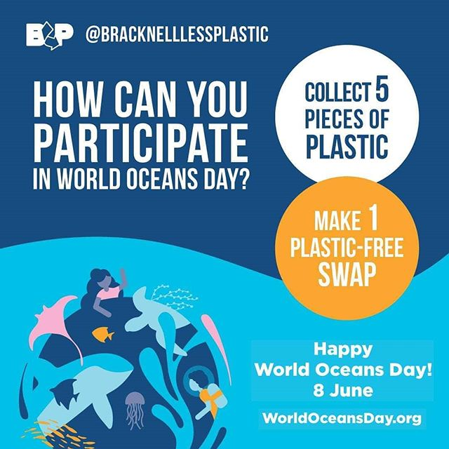 TOMORROW IS WORLD OCEANS DAY! 🌊  We love this from Bracknell Less Plastic who are asking everyone to:  COLLECT five pieces of plastic litter (and dispose of them appropriately!) and/or  MAKE one plastic-free swap