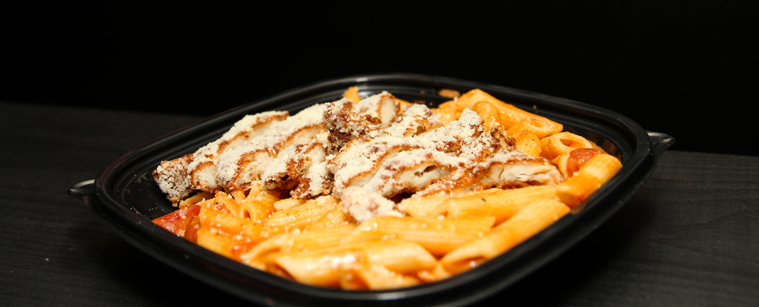 Pene with Roman Crusted Chicken
