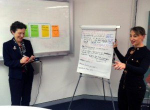 Dr Gillian McAllister and Lisa Koch guide a process mapping session