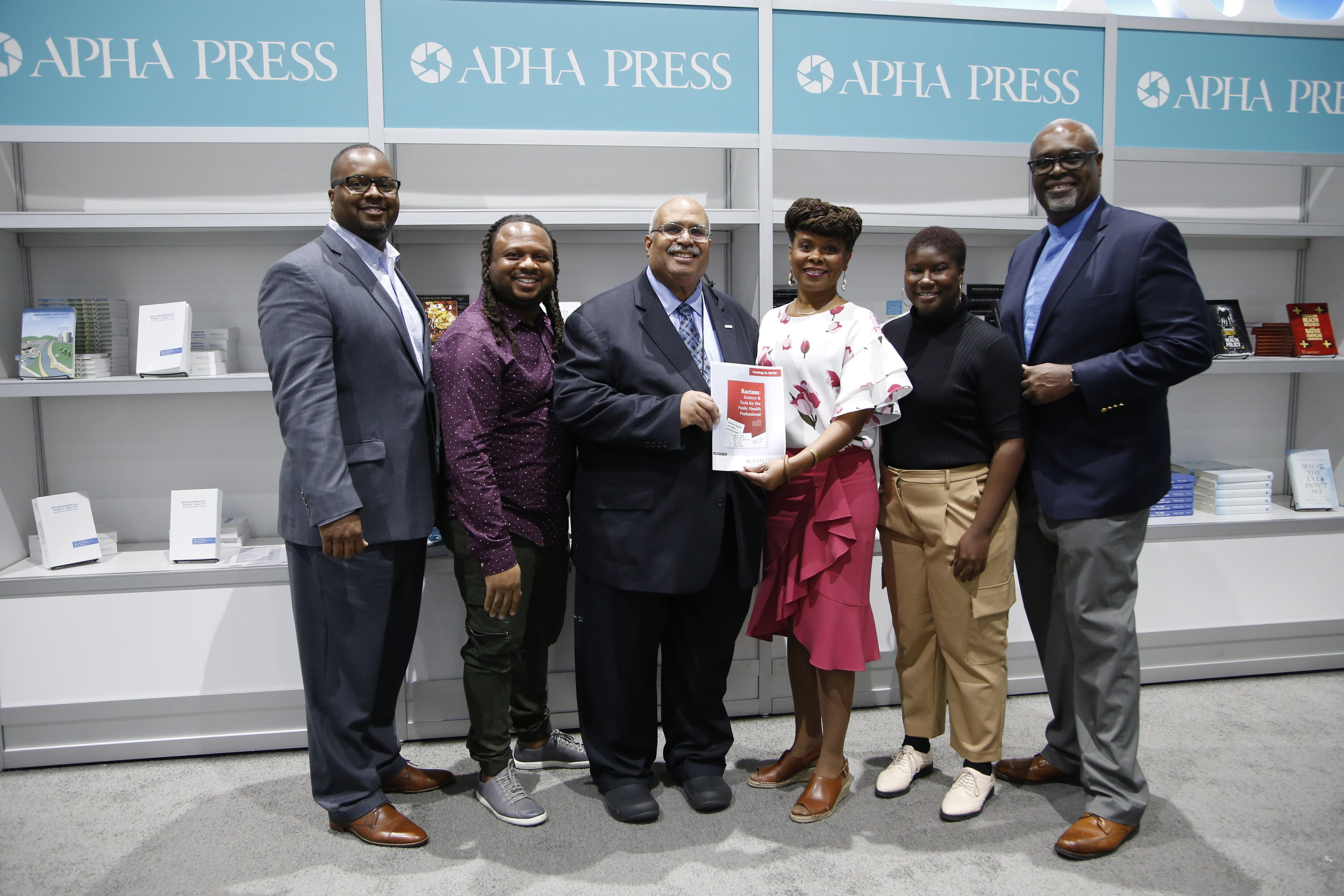Co-editors with APHA Executive Director at the APHA 2018 Annual Meeting. Left to right, Derek M. Griffith (Vanderbilt University Center for Research on Men's Health), Keon Gilbert (St. Louis Univ.), Georges Benjamin (APHA), Chandra Ford (UCLA Center for the Study of Racism, Social Justice & Health), Natalie Bradford (graduate student researcher) and Marino Bruce (Vanderbilt University Center for Research on Men's Health and Jackson State University).