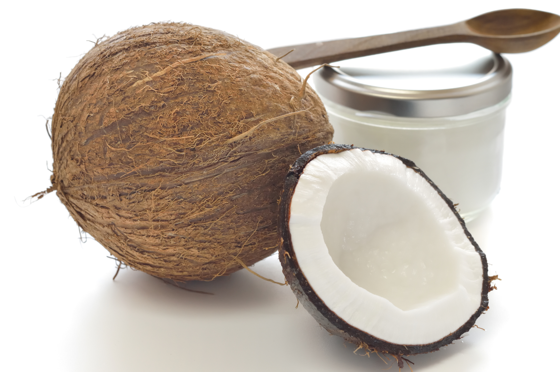 coconuts and coconut oil jar