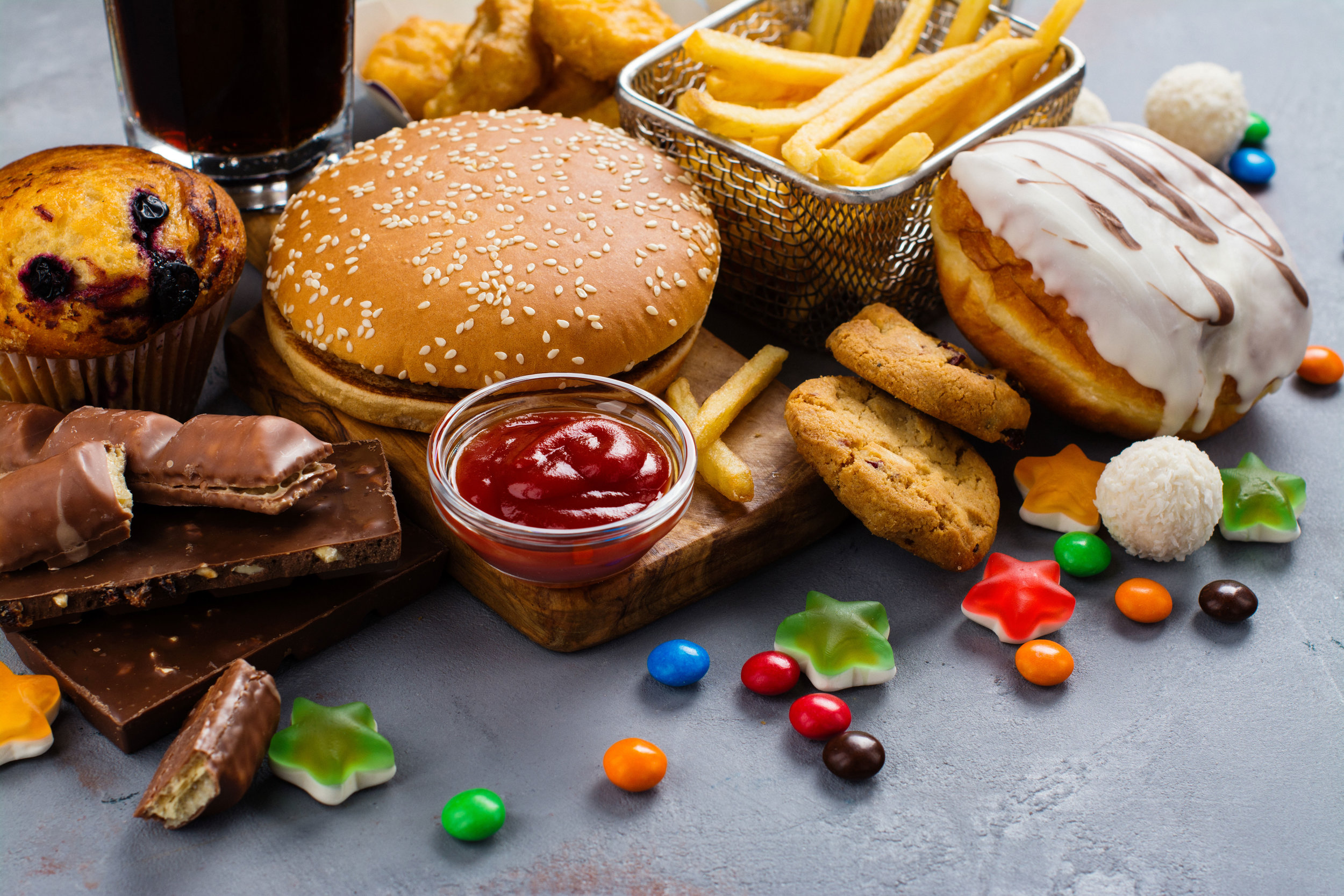 unhealthy junk food burger candy donut muffin desert