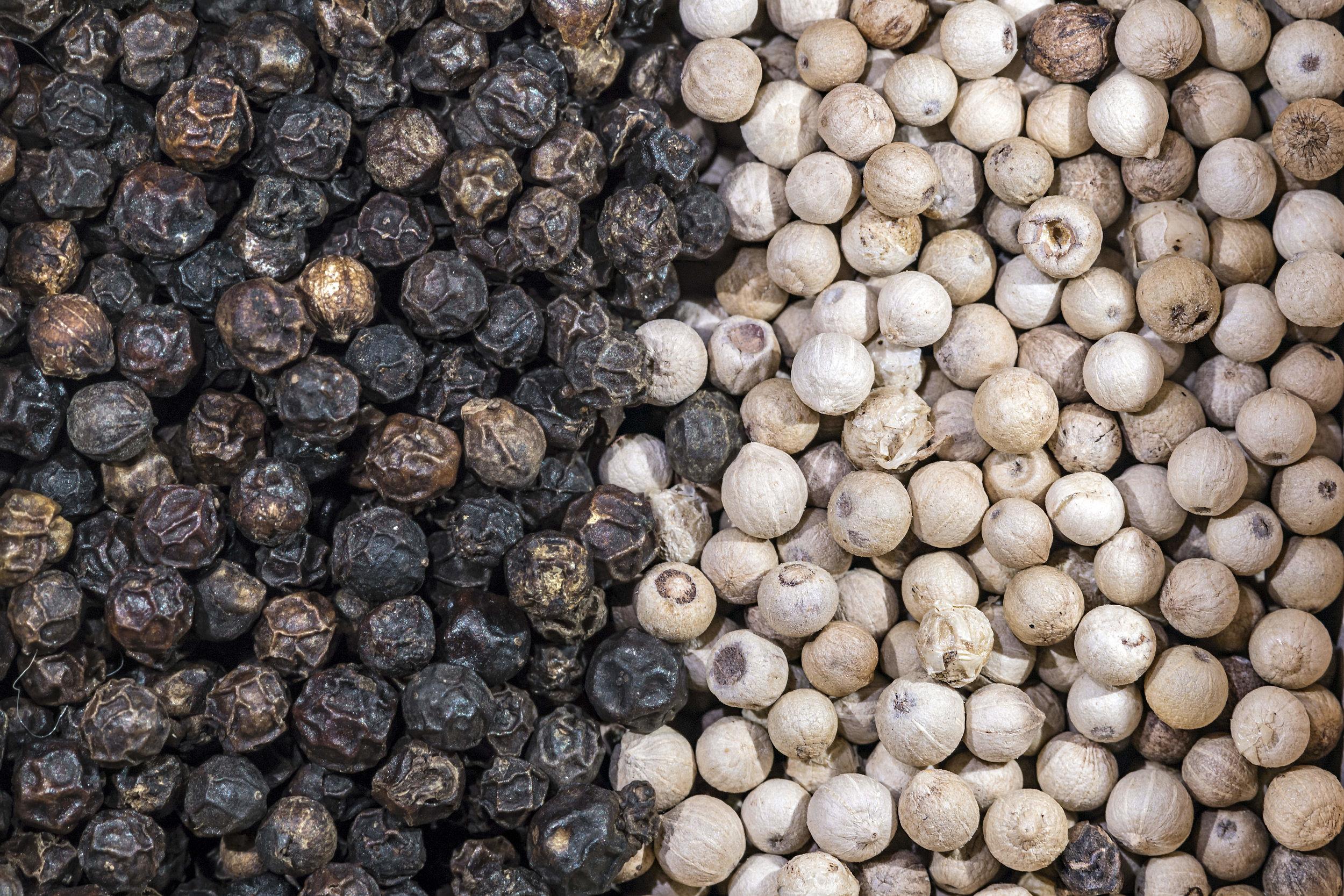 black white pepper dried