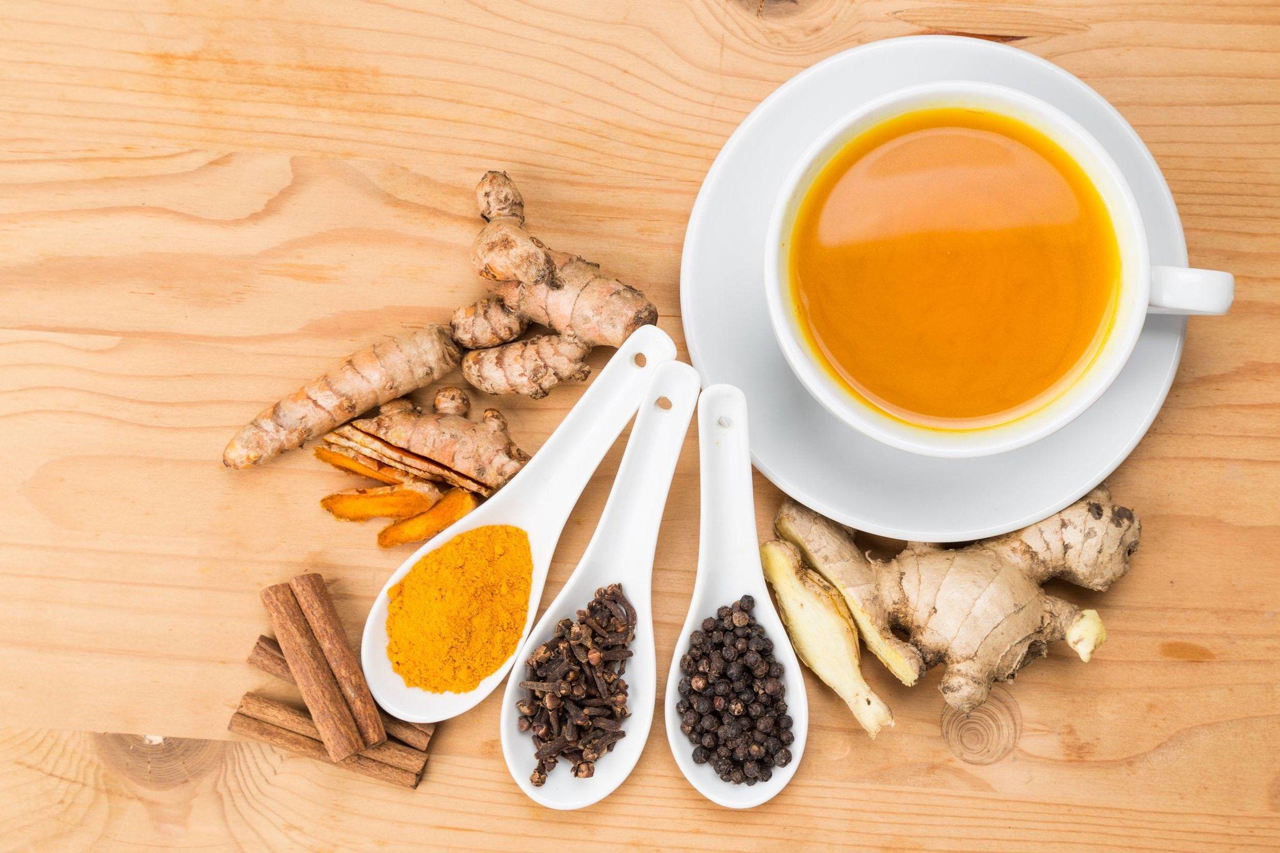 black pepper ginger turmeric spices