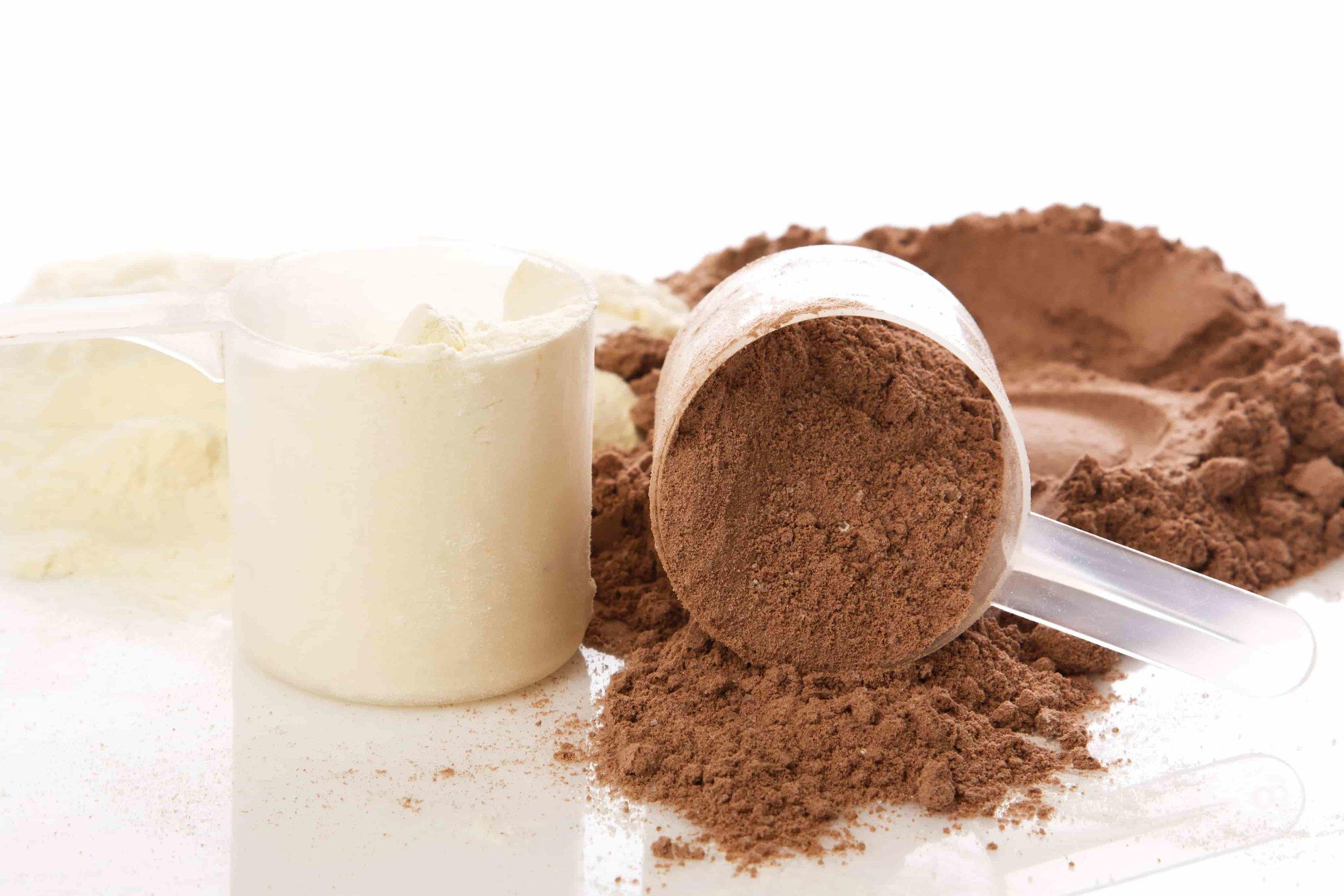 chocolate vanilla protein powder scoop