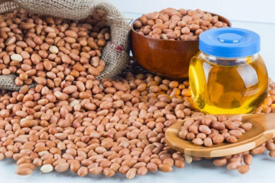 peanuts around peanut oil bottle