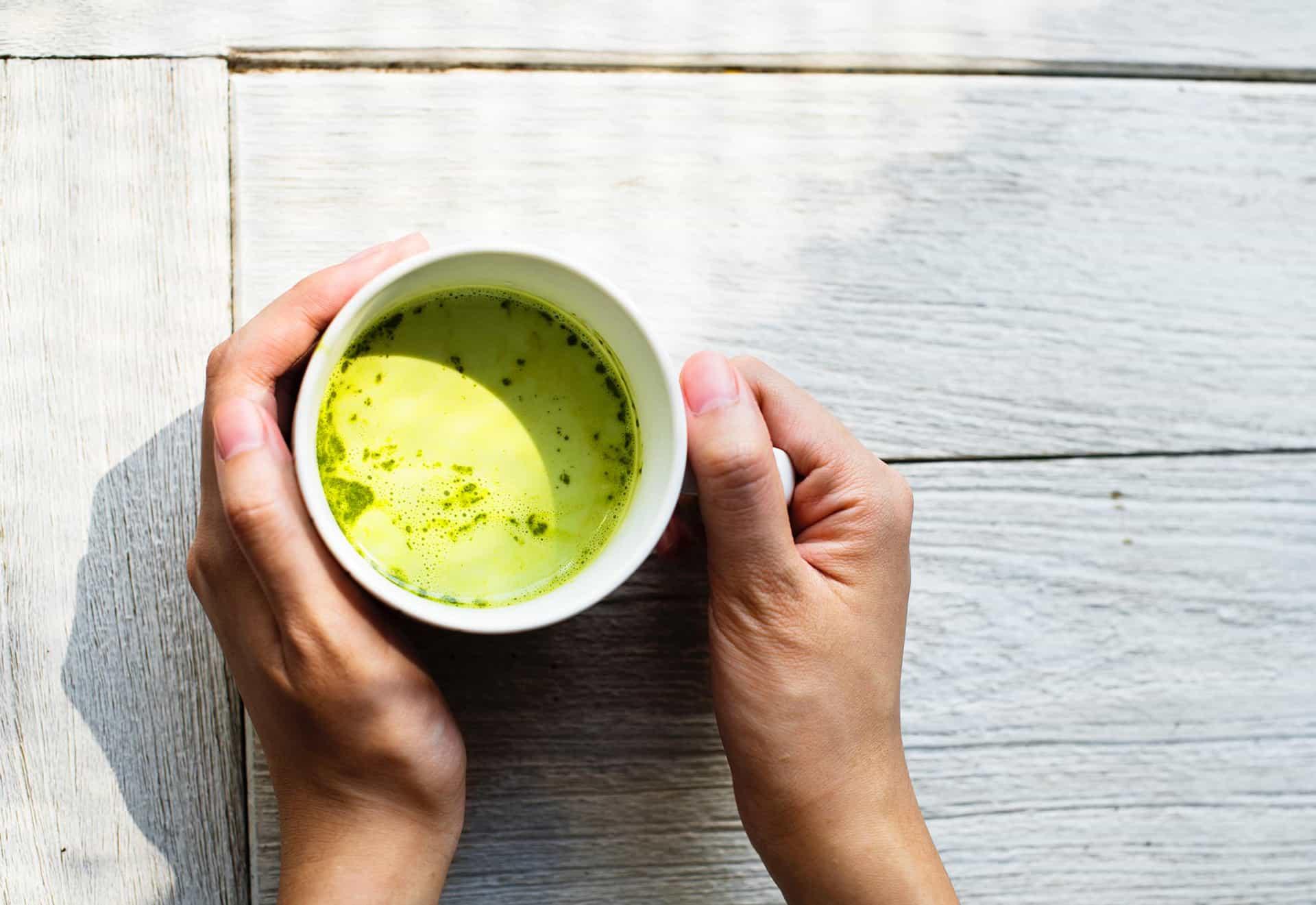 matcha tea outdoors
