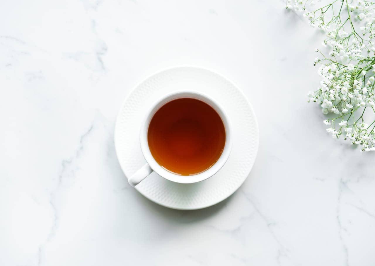 flower tea on marble table