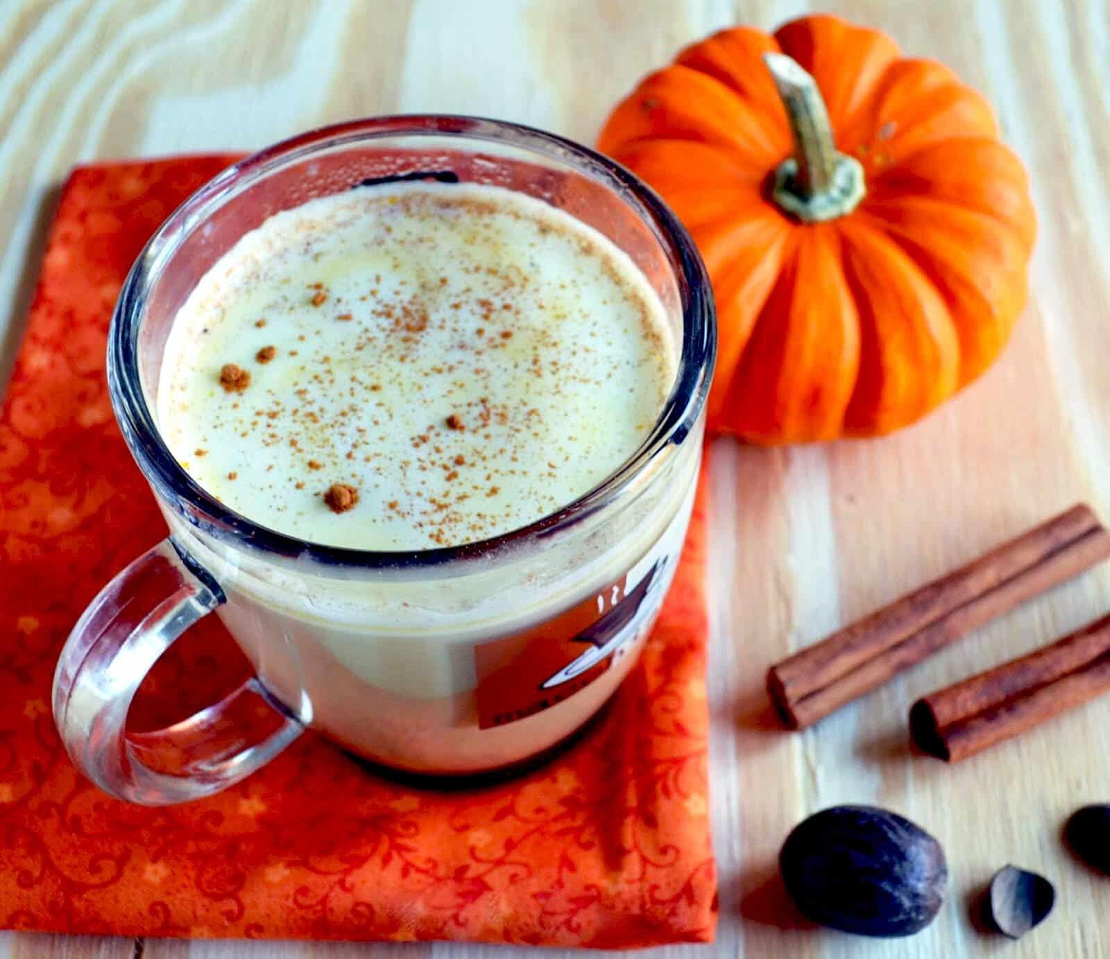 pumpkin spice white chai tea latte with cinnamon