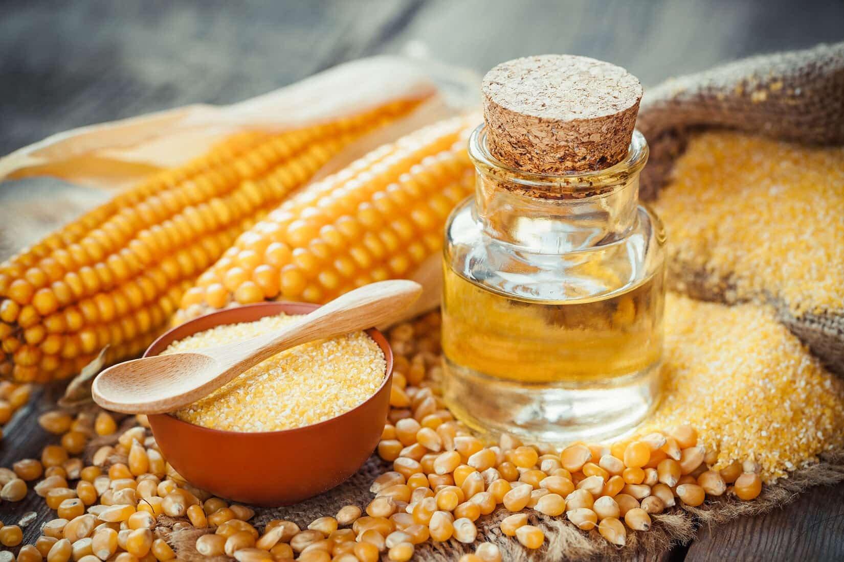 corn ground corn powder and corn oil