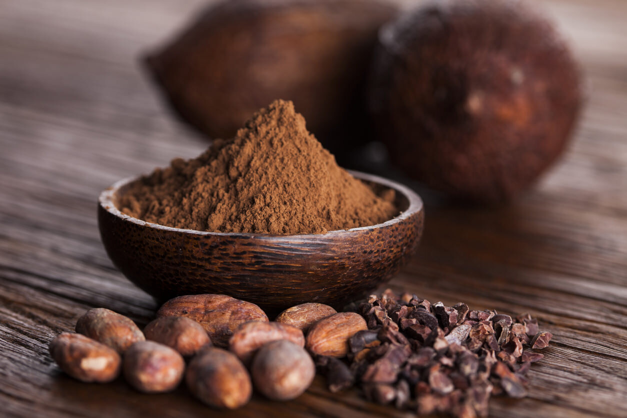 raw cocoa powder and beans