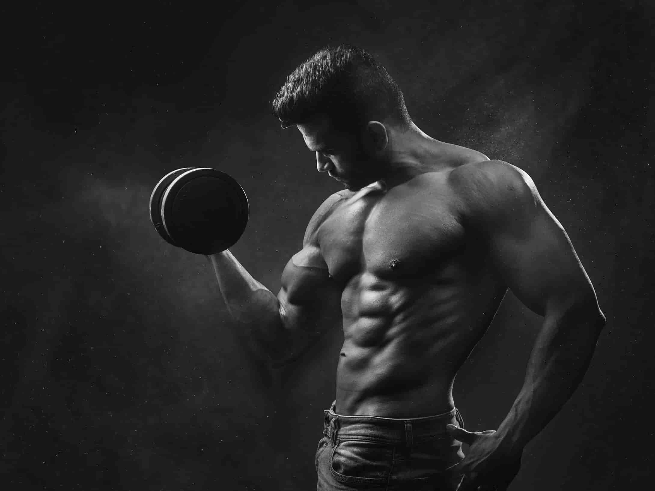 fit bodybuilder with muscles and abs
